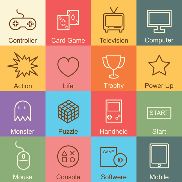 game outline design, vector infographic elements